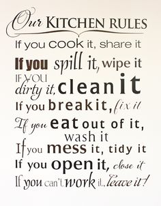 Kitchen Rules Subway Art Digital Print