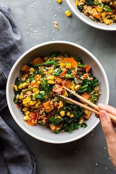 Vegan fried riceVegan fried rice is a quick mid week dinner idea that is great for using up leftover rice. It's easy to put together, versatile, naturally vegan and gluten-free. Rice Recipes, Veggie Recipes, Asian Recipes, Whole Food Recipes, Vegetarian Recipes, Cooking Recipes, Healthy Recipes, Vegan Vegetarian, Yummy Recipes