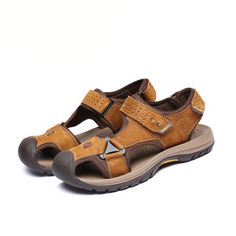 Men Sandals Slippers Genuine Leather Cowhide Male Summer Beach Shoes Casual Suede Leather