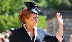 cc287b6b61d69 Sarah Ferguson The Duchess of York wearing bespoke Jess Collett Milliner hat  in Navy. Princess
