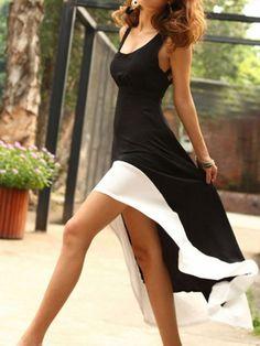 Black Multi Strap Cut Out Back Contrast Asymmetric Hem Dress