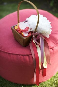 Flower girl basket with ribbons