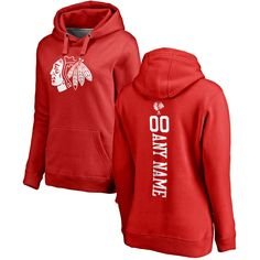 Chicago Blackhawks Fanatics Branded Women's Personalized One Color Backer Pullover Hoodie - Red