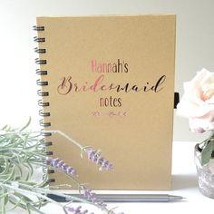 Personalised Bridesmaid Notebook. Personalised bridesmaid planner. Personalised wedding notebook