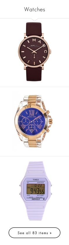 """""""Watches"""" by wavyjai ❤ liked on Polyvore featuring jewelry, watches, rose gold, quartz movement watches, rose gold tone watches, michael kors watches, logo watches, logo jewelry, accessories and bracelets"""