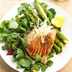This restaurant-worthy dinner is ready in just 20 minutes. Seared and served with sweet baby greens and crisp roasted asparagus, lean tuna is a deliciously healthy choice./