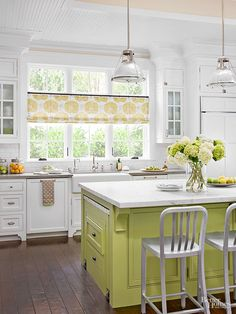 Although white has the undeniable power to bring freshness and expansive properties to any space, it also tends to feel a little clinical. Balance the austerity with an equally appealing accent shade, like the citron-green paint color on this kitchen island. The Color: Split Pea -- Benjamin Moore/
