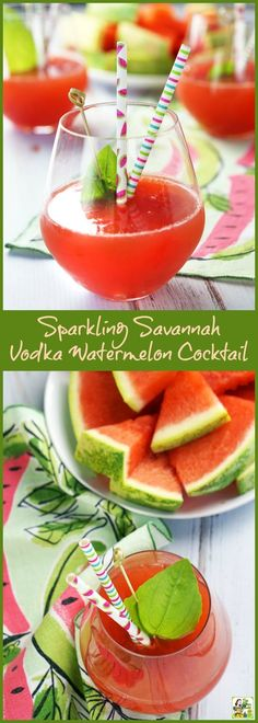 Make this Sparkling Savannah Vodka Watermelon Cocktail recipe with fresh watermelon juice, vodka, sparkling wine and St. Germain liqueur. (Sponsored by the Georgia Watermelon Association)
