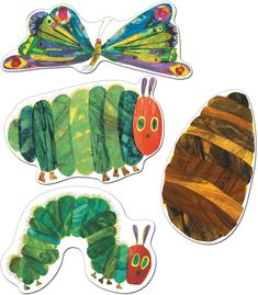 Celebrate the beloved story of The Very Hungry Caterpillar™ with these assorted cut-outs featuring artwork from The World of Eric Carle™.  This 48 piece pack includes an assortment of colorful cut-outs including: 12 caterpillars, 12 cocoons, 12 butterflies, and 12 large caterpillars printed on card stock. These assorted cut out shapes are fun additions to any classroom setting and can be used for more than just decoration. Great for sorting activities, calendar activities, game pieces, name tags Eric Carle, Hungry Caterpillar Classroom, The Very Hungry Caterpillar Activities, Caterpillar Art, Calendar Activities, Sorting Activities, Story Sack, Game Pieces, Cut Outs