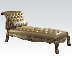 Gold Patina/Bone Faux Leather Button-Tufted Chaise Lounge