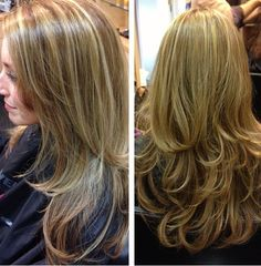 Highlight haircut and style by Shelly! #highlights #blowout #beautiful #goldwell #depasquale #kmscalifornia