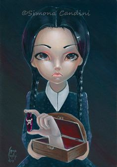 Wednesday Addams And Thing SIGNED Mini PRINT Simona Candini Gothic Big Eyes Lowbrow Art