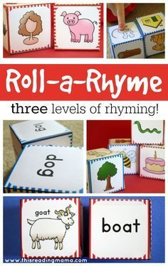 FREE Roll a Rhyme with THREE levels of rhyming fun: 1- matching rhyming pictures, 2- matching pictures to rhyming words, 3- matching just the words   This Reading Mama