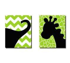 Elephant Giraffe Safari Nursery Wall Art 2 by onehipstickerchic. $80.00, via Etsy.