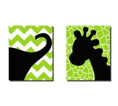 "Elephant Giraffe Safari  Nursery Wall Art  2 16"" x 20"" Stretched Canvas Chevron OHSC. $80.00, via Etsy."