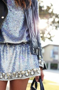 iridescent sequin dress with an embellished trim