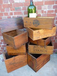 Quantity of old boxes restored and ready for display, oil box lid, Stanley wine box with 6 ltr bottle 1978, 2 tea boxes, Australian dried fruit box, Foggit, Jones Ham box, Acme starch box, Vacumn oil box, Atlantic benzine box. Priced from $35 to $75