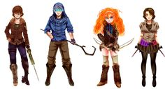 Found this beauty while looking for RWBY art! I like the name Team SAWS. Punzy is Spring, Hiccup is Autumn, Jack is Winter (Duh...), and Merida is Summer! But yeah pretty cool if I do say so.