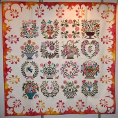 Baltimore Album quilt with unusual Hawaiian-style batik or hand-dyed border, 2007 Seoul (Korea) International Quilt Festival, photo by The Constant Crafter in South Korea