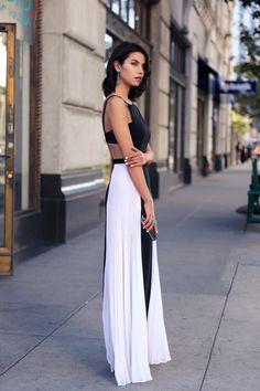 VivaLuxury - Fashion Blog by Annabelle Fleur: DOMINO BCBG Brielle sleveless side-pleated gown | Treesje asymmetry clutch in gunmetal | Tacori City Lights cocktail ring & drop earrings January 7, 2015
