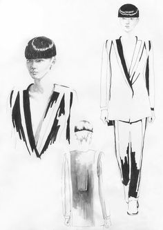 Fashion Sketchbook - fashion design illustrations for a unisex fashion collection - fashion drawing; fashion portfolio // Rad Hourani