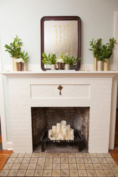 What to do with a non-functioning fireplace: candles in fireplace ideas Decorating Around an Off-Center Non-Functional Fireplace Empty Fireplace Ideas, Unused Fireplace, Candles In Fireplace, Faux Fireplace, Modern Fireplace, Fireplace Design, White Fireplace, Fireplace Ideas Without Fire, Fireplace Makeovers