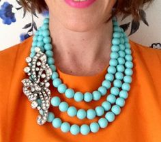 The NEW LCA Necklace is just so FABULOUS! 3 strands of aqua ceramic beads / fastened at the nape of the neck / e. Orange And Turquoise, Turquoise Color, Turquoise Jewelry, Orange Color, Aqua, Jewelery, Jewelry Necklaces, Beaded Necklace, Jewellery Box