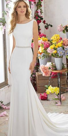 elegant bateau neck mermaid simple modest wedding dresses mori lee