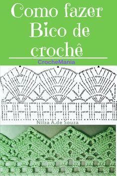 Quer aprender Clicar na imagem e salve esse Pin! Picot Crochet, Crochet Lace Edging, Crochet Diagram, Crochet Chart, Crochet Doilies, Easy Crochet, Knitting Stitches, Knitting Patterns, Sewing Patterns
