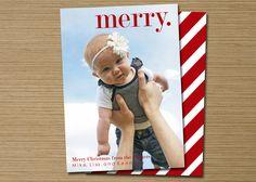 "Photo Christmas Card, Holiday Card: PRINTABLE (""Merry."" Christmas custom card). $15.00, via Etsy."