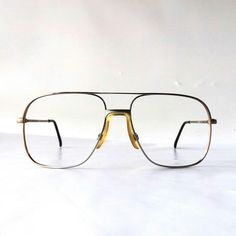 e9373b9a32 vintage NOS square eyeglasses metal silver taupe frames modern retro eye glasses  eyewear nerd geek double bridge oversized big large by RecycleBuyVintage on  ...