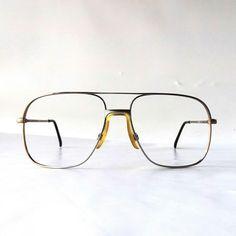 ed9ffb4d948ab vintage NOS square eyeglasses metal silver taupe frames modern retro eye glasses  eyewear nerd geek double bridge oversized big large by RecycleBuyVintage on  ...