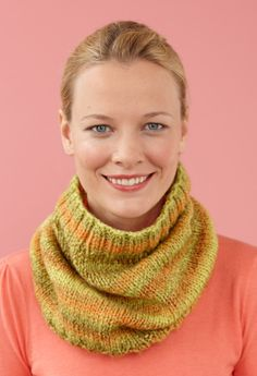 Marble Cowl--Like the Lion Brand Tweed Stripes yarn in Rainforest used to make this cowl.