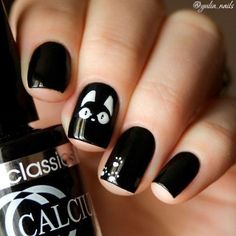 Unique Cat Nails Designs For You 20 Simple Black Nail Art Design Ideas The post Unique Cat Nails Designs For You appeared first on Halloween Nails. Black And White Nail Designs, Black Nail Art, White Nails, Black White, Black Nails, White Manicure, Shellac Manicure, Pretty Black, Black Art