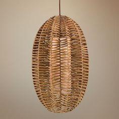 quoizel   antigua rattan oval pendant light