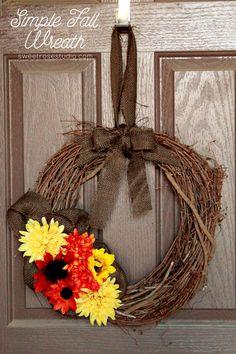 Simple Fall Wreath Tutorial at Sweet Rose Studio