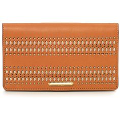 Stella & Dot Soho Flap Wallet - Saddle ($59) ❤ liked on Polyvore featuring bags, wallets, red bag, stella & dot, zip wallet, checkbook wallet and red wallet