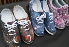 Galaxy Shoes custom shoes planet shoes purple pink orange yellow blue etc. by BeardArtStudios on Etsy