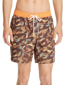 Michael Bastian Camo Print Swim Trunks