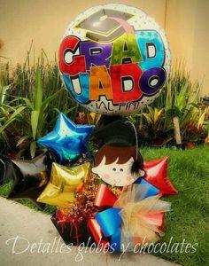 Diy Graduation Gifts, Graduation Ideas, Birthday Basket, Graduation Balloons, Balloon Gift, Balloon Flowers, Candy Bouquet, Valentine Day Crafts, Balloon Decorations