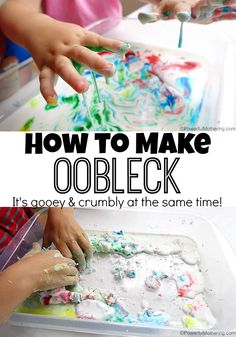An Ideal oobleck recipe is gooey yet crumbly! Try this super easy oobleck recipe with your kids to demonstrate non-Newtonian fluid and just because it is super fun! Toddlers and preschoolers alike can use this oobleck recipe for sensory and science.