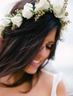 Beach bride's casual down bridal hair ideas Toni Kami Wedding Hairstyles ♥ ❶ wedding hairstyle with white rose flower crown corona halo