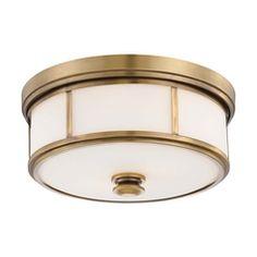 Minka Lighting, Inc. Flushmount Light with White Glass in Liberty Gold Finish 4365-249