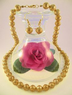 Handmade - Gold Plated Filigree Spacer Beads Jewelry Set (Necklace + Earrings)