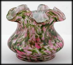 Fenton Vasa Murrhina Rose Aventurine Art Glass Vase Pink and Green