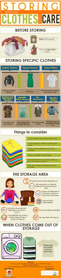 Put seasonal clothes away clean and refresh when you take them out of storage.