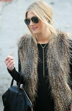 Devon Rachel: Faux Fur & Gold Accents Oia Jules Crystal Tear Drop Necklace oiajules.com