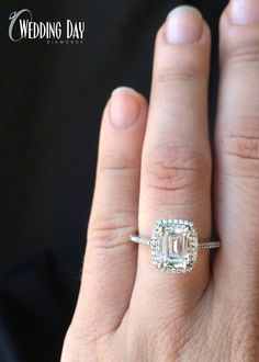 This ring is amazing! I love the delicate band and the double halo! Plus the emerald cut diamond makes it so unique! ♥