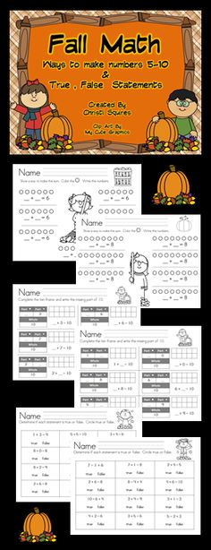 Halloween Addition and Subtraction Worksheets Numbers 0 - 10