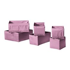 SKUBB Box, set of 6 IKEA Helps you organise socks, belts and jewellery in your wardrobe or chest of drawers.